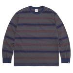 thisisneverthat(ディスイズネバーザット)TN21SLS011 オニキスストライプL/SL長袖Tシャツ ネイビー×レッド S
