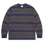 thisisneverthat(ディスイズネバーザット)TN21SLS011 オニキスストライプL/SL長袖Tシャツ ネイビー×レッド M