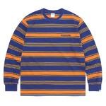 thisisneverthat(ディスイズネバーザット)TN21SLS011 オニキスストライプL/SL長袖Tシャツ オレンジ×ブルー S