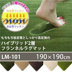 フランネル ラグマット/絨毯 【190cm×190cm グリーン】 正方形 ホットカーペット 床暖房可 低反発&高反発 防音 防滑 - 拡大画像