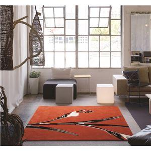 ラグマット/絨毯 【140cm×200cm オレンジ】 長方形 防ダニ 防滑 MERI RUG 『NEXTHOME』 〔リビング ダイニング〕 - 拡大画像