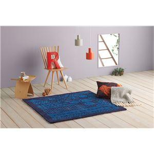 ラグマット/絨毯 【モリノナカ 140cm×140cm ブルー】 正方形 日本製 床暖房可 防ダニ Masaru Suzuki Design 『NEXTHOME』 - 拡大画像