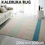 北欧 ラグマット/絨毯 【200cm×200cm アイボリー】 正方形 ホットカーペット可 防ダニ 防滑 KALERURA RUG 『NEXTHOME』