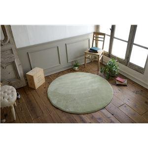 フランネル ラグマット/絨毯 【直径190cm セイジグリーン】 円形 低反発 高反発 防滑 防音 ホットカーペット対応 - 拡大画像