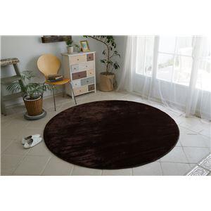 フランネル ラグマット/絨毯 【直径140cm ブラウン】 円形 低反発 高反発 防滑 防音 ホットカーペット対応 - 拡大画像