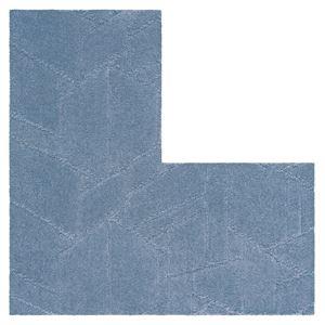 防炎 タイルカーペット 【60×60cm L字型 ブルー 4枚入】 日本製 防滑 耐熱 耐摩耗 『ホームタイルユニットカーペット』 - 拡大画像