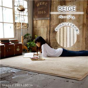 洗える ラグマット/絨毯 【AS530 190×190cm ベージュ】 耐熱 防音 防滑加工 ホットカーペット対応 〔リビング〕 - 拡大画像