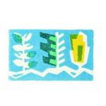 デザインライフ 玄関マット 室内/屋内用 UMIKUSA(ウミクサ) 45×75cm ブルー 【日本製】