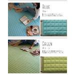 ウォッシャブル ラグマット/絨毯 【185cm×185cm ブルー】 正方形 通年可 綿100% 防滑 軽量 スミノエ 『タオルキルト』