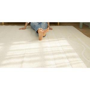 涼感 ラグマット/絨毯 【190cm×190cm アイボリー】 正方形 日本製 防ダニ 防滑 スミノエ 『マリンサーフ』 〔リビング〕 - 拡大画像