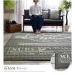 キルティング ラグマット/絨毯 【185cm×185cm ブルー】 正方形 綿100% 洗える 防滑 床暖房対応 『サーフウェーブ』