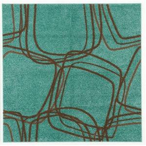 ナイロンラグ/絨毯 【200cm×200cm グリーンブルー】 正方形 日本製 防滑 オールシーズン対応 ホット&クール 『レシェ』 - 拡大画像