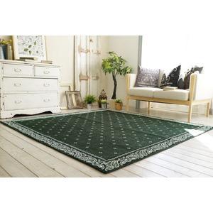 シェニールプリント ラグマット/絨毯 【185cm×185cm グリーン】 正方形 洗える 折りたたみ 『バンダナボーダー』 〔リビング〕 - 拡大画像