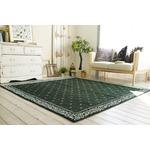 シェニールプリント ラグマット/絨毯 【185cm×185cm グリーン】 正方形 洗える 折りたたみ 『バンダナボーダー』 〔リビング〕