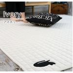 ネコワッペン キルトラグ/絨毯 【130cm×185cm アイボリー】 長方形 洗える 防滑 『キャットキルト』 〔リビング〕
