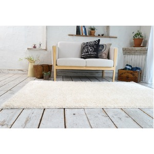 ミックスシャギー ラグマット/絨毯 【190cm×240cm パールアイボリー】 長方形 洗える 防ダニ 防滑 床暖房対応 『グレイド』 - 拡大画像
