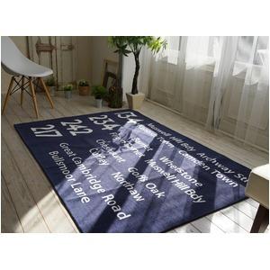シェニールプリントラグ/絨毯 【185cm×185cm ブルー】 正方形 洗える 防滑 ポリエステル 『バスサイン』 〔リビング〕 - 拡大画像
