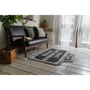 ヴィンテージ調 ラグマット/絨毯 【90cm×130cm グレー】 長方形 ホットカーペット対応 『ルティエ』 〔リビング〕 - 拡大画像