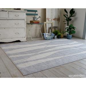 キシリトール 涼感ラグ/絨毯 【130cm×185cm ライトグレー】 長方形 日本製 綿混 『ホワイトホース』 〔リビング〕 - 拡大画像