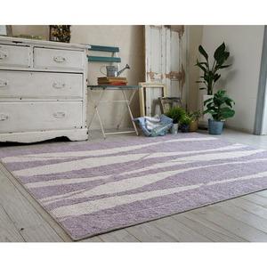 キシリトール 涼感ラグ/絨毯 【185cm×185cm ライラック】 正方形 日本製 綿混 『ホワイトホース』 〔リビング〕 - 拡大画像