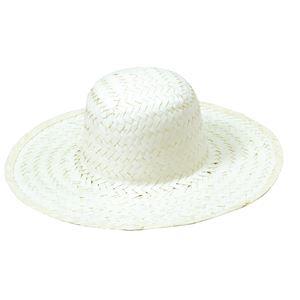(まとめ)ホワイト麦わら帽子 大(ひも付き) 【×10個セット】 - 拡大画像