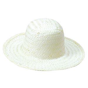 (まとめ)ホワイト麦わら帽子 小(ひも付き) 【×10個セット】 - 拡大画像