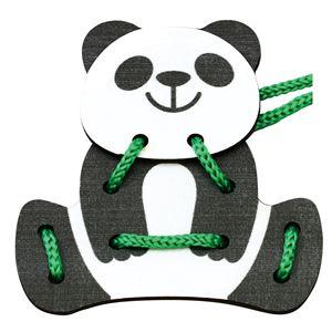 (まとめ)木製ひもとおし パンダ 【×10個セット】 - 拡大画像