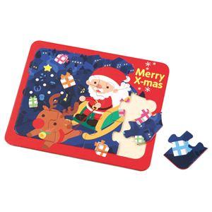 (まとめ)木製クリスマスジグソーパズル【×20セット】 - 拡大画像