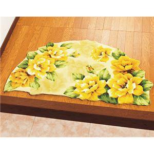 幸せの黄色いバラ玄関マット 【2: 半円形/約85cm×55cm】 滑りにくい加工 〔室内/屋内用〕