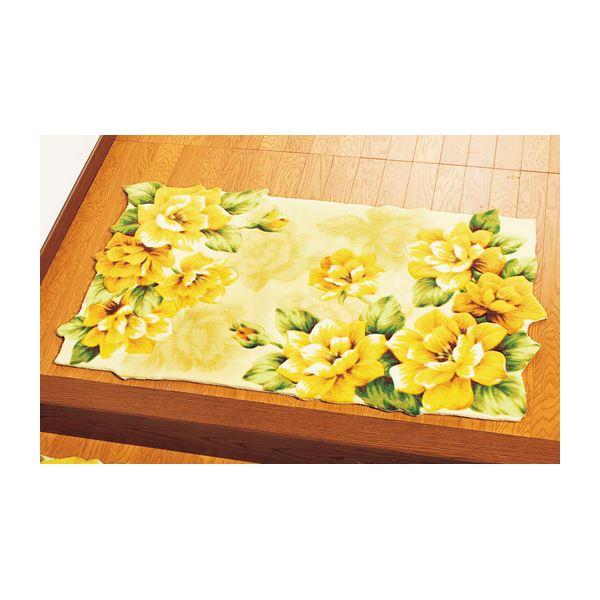 幸せの黄色いバラ玄関マット 【5: 長方形/約85cm×55cm】 滑りにくい加工 〔室内/屋内用〕