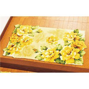 幸せの黄色いバラ玄関マット 【6: 長方形/約120cm×70cm】 滑りにくい加工 〔室内/屋内用〕