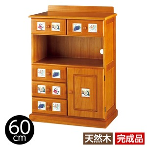 サイドボード/リビングボード (南欧風家具) 【3: 幅60cm】 木製 ライトブラウン 【完成品】