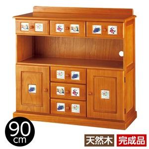 サイドボード/リビングボード (南欧風家具) 【4: 幅90cm】 木製 ライトブラウン 【完成品】