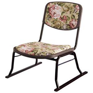 スタッキングチェア/楽座椅子4点セット スチール製 花柄 〔法事/集会/会食/来客時〕 - 拡大画像