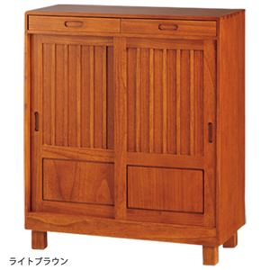 和風引き戸シューズボックス(下駄箱) 【1: 幅80cm】 木製(天然木) ライトブラウン 【完成品】