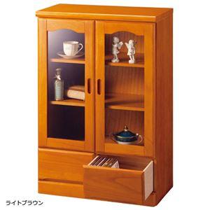 ガラス扉付きサイドボード 木製(天然木) 【1: 幅60cm/2杯】 ライトブラウン