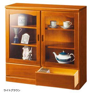ガラス扉付きサイドボード 木製(天然木) 【2: 幅90cm/2杯】 ライトブラウン