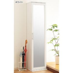 スリムミラーシューズボックス(シューズラック) 【3: 幅60cm】 可動式棚 ホワイト(白) - 拡大画像