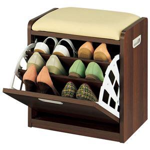 腰掛け付きシューズボックス/スツール 【1: Sサイズ】 木製/合成皮革