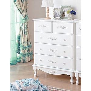 チェスト(サイドチェスト) 【幅75cm】 『ピュアホワイトアンティーク飾り家具』 木製 アンティーク調/猫足 - 拡大画像