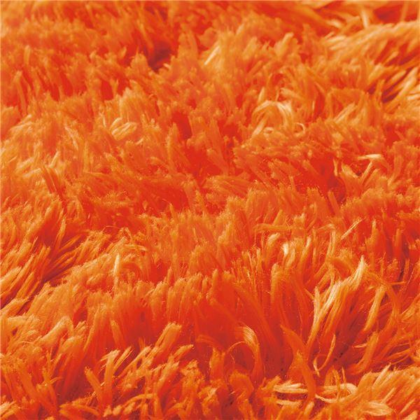 さらふわシャギーラグマット(ホットカーペット対応) 【サークル(円形)/約185cm×185cm】 ダークオレンジ2