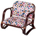 新・籐思いやり座椅子/パーソナルチェア 【1: ロータイプ】 肘付き 軽量タイプ クッション張地:綿100%
