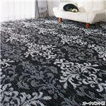 選べる撥水加工タフトカーペット/絨毯 【オーナメント柄 5: 江戸間8畳/正方形】 フリーカット可 日本製