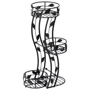 プランタースタンド/フラワースタンド 【3段】 スチール製 高さ55.5cm リーフデザイン 〔ガーデニング 園芸 エクステリア用品〕 - 拡大画像