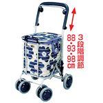 花柄ショッピングカート(ワイヤーカート) アルミ製 軽量 積載荷重最大約20kg ブレーキ/持ち手付バッグ付き 日本製 ブルー(青)