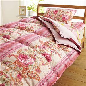 2枚合わせ羽根布団5点セット/寝具セット 【ボリュームタイプ/ピンク】 オールシーズン対応 毛布・枕付き - 拡大画像