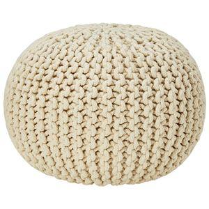 座れるクッション/ボールクッション 「コロン」 アイボリー 直径45cm×高さ30cm 表地:インド綿100%  - 拡大画像