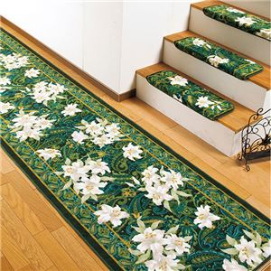 ユリ柄廊下敷き/ラグマット アクリル100% 抗菌防臭機能付き 裏面:滑りにくい加工 日本製