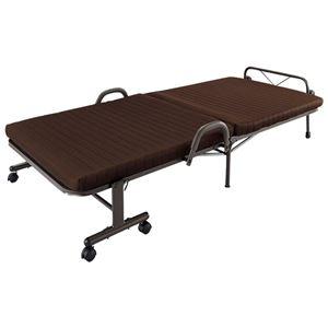 電動フォールディングメッシュベッド/折りたたみベッド 【シングル】 背脚連動リクライニング手すり付き
