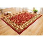 2柄3色から選べる!ウィルトン織カーペット/絨毯 更紗レッド